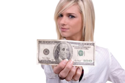 Cute blond girl/woman with a $100 bill - perfect for savings, income, bank, etc.