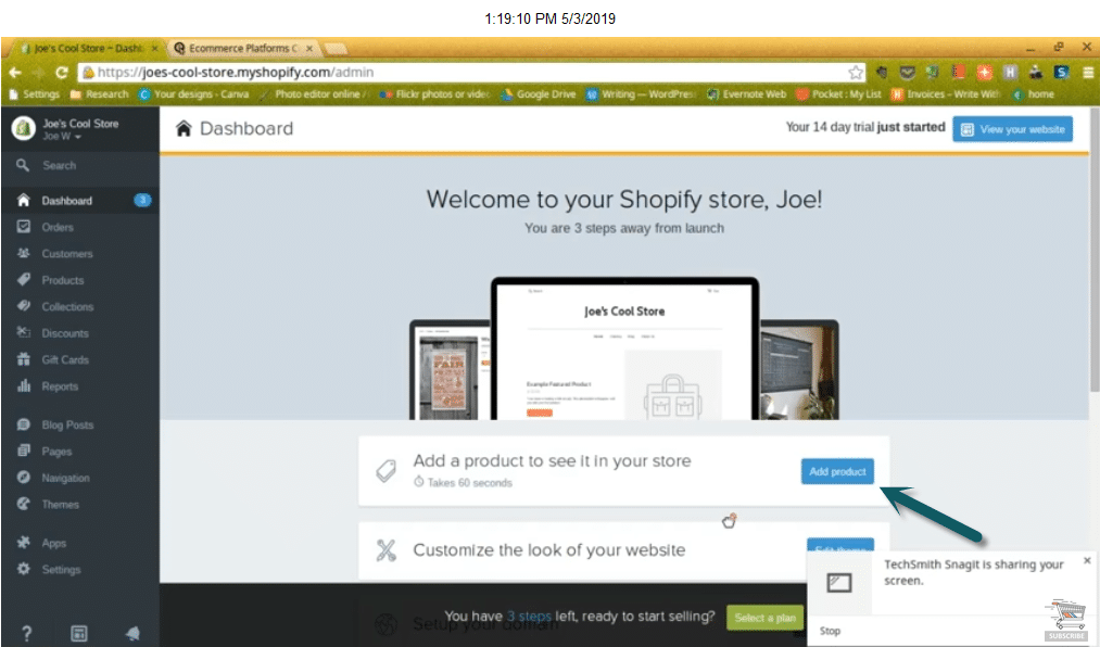 your store dashboard