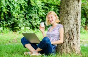 Lunch Time Relax Or Coffee Break. Work In Summer Park. Reasons W