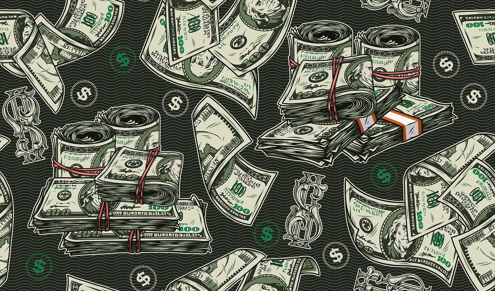 Falling dollars banknotes and symbols rolls
