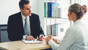Job seeker in job interview meeting