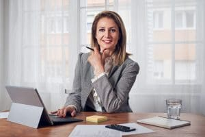Woman in office business working on computer